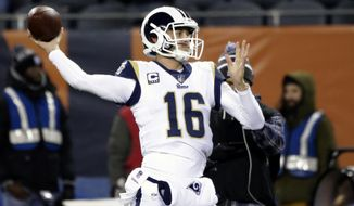 Los Angeles Rams quarterback Jared Goff (16) warms up before an NFL football game against the Chicago Bears Sunday, Dec. 9, 2018, in Chicago. (AP Photo/David Banks)
