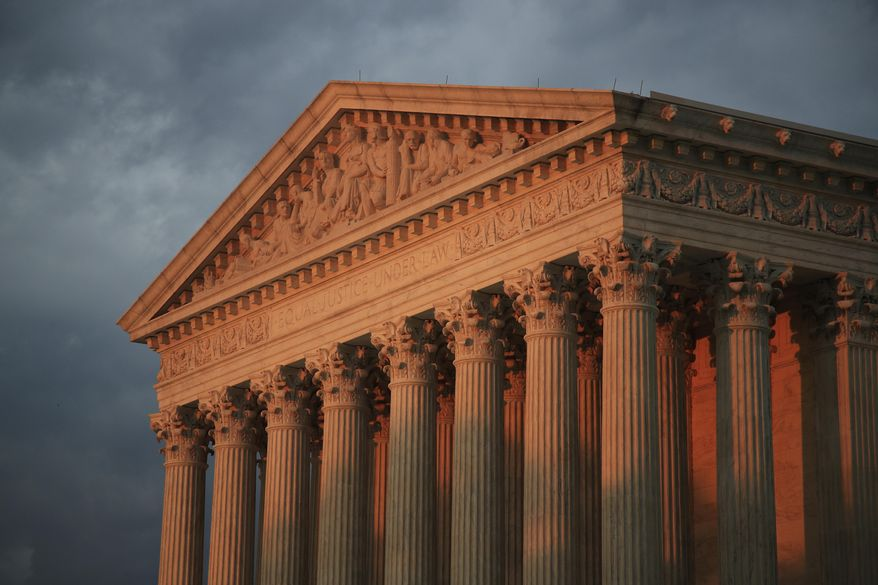 In this Oct. 4, 2018, file photo, the U.S. Supreme Court is seen at sunset in Washington. (AP Photo/Manuel Balce Ceneta)