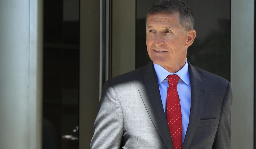 In this July 10, 2018, file photo, former Trump national security adviser Michael Flynn leaves the federal courthouse in Washington, following a status hearing. (AP Photo/Manuel Balce Ceneta)