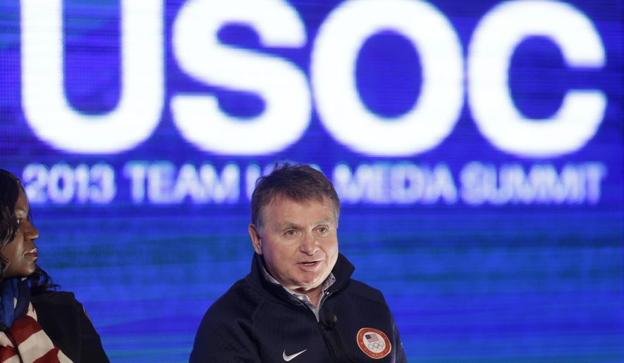 FILE - In this Oct. 1, 2013, file photo, Alan Ashley, chief of sport performance with the U.S. Olympic Committee, speaks with reporters during a news conference in Park City, Utah. The U.S. Olympic Committee has fired chief of sport performance Alan Ashley in the wake of an independent report that said neither he nor former CEO Scott Blackmun elevated concerns about the Larry Nassar sexual abuse allegations when they were first reported to them. The 233-page independent report was released Monday, Dec. 10, 2018. It detailed an overall lack of response when the USOC leaders first heard about the Nassar allegations from the then-president of USA Gymnastics, Steve Penny. Blackmun resigned in February because of health concerns.(AP Photo/Rick Bowmer, File)