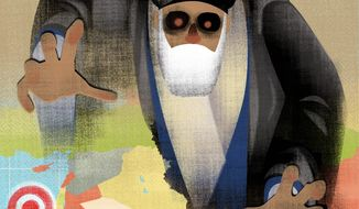 Illustration on the Iranian threat in the Middle East by Linas Garsys/The Washington Times