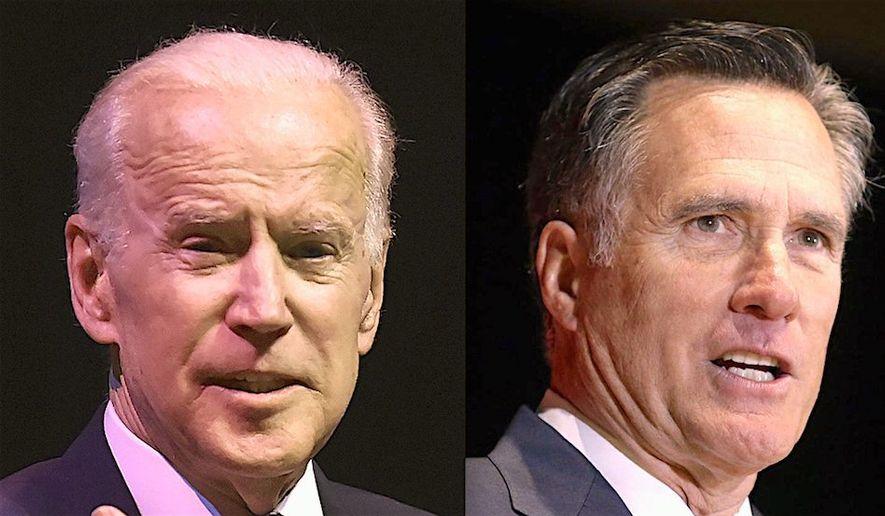 "One political adviser suggests former Vice President Joseph R. Biden and former Massachusetts Gov. Mitt Romney run on a ""unity"" ticket. (Associated Press photographs)"