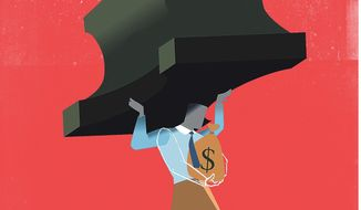 Illustration on the challenges to small business by Linas Garsys/The Washington Times
