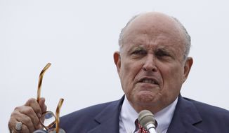 In this Aug. 1, 2018, file photo, Rudy Giuliani, an attorney for President Donald Trump, speaks in Portsmouth, N.H. (AP Photo/Charles Krupa, File)