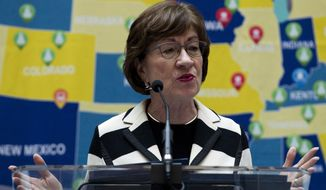 Sen. Susan Collins, R-Maine speaks during a infrastructure investment announcement at transportation headquarters in Washington, Tuesday, Dec. 11, 2018. (AP Photo/Jose Luis Magana)