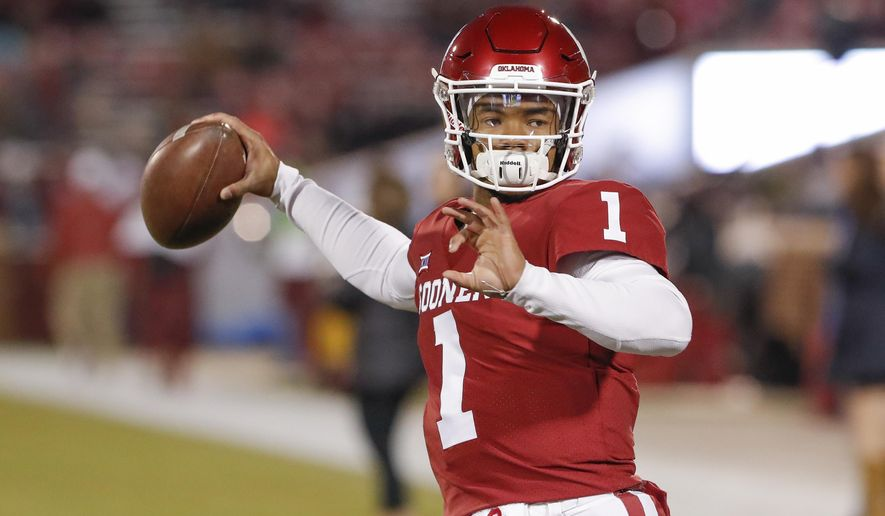In this Saturday, Nov. 17, 2018, file photo, Oklahoma quarterback Kyler Murray (1) before the start of an NCAA college football game against Kansas in Norman, Okla. (AP Photo/Alonzo Adams, File)