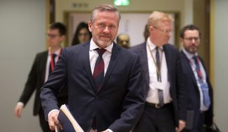 Danish Foreign Minister Anders Samuelsen, center, arrives for a General Affairs Council meeting at the Europa building in Brussels, Tuesday, Dec. 11, 2018. (AP Photo/Virginia Mayo) ** FILE **