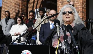 Susan Bro, mother of Heather Heyer, talks to the media in front of Charlottesville Circuit Court after a jury recommended life plus 419 years for James Alex Fields Jr. for the death of Heyer as well as several other charges related to the Unite the Right rally in 2017 in Charlottesville, Va., Tuesday, Dec. 11, 2018. Other victims of Fields attack are in the background. (AP Photo/Steve Helber) ** FILE **