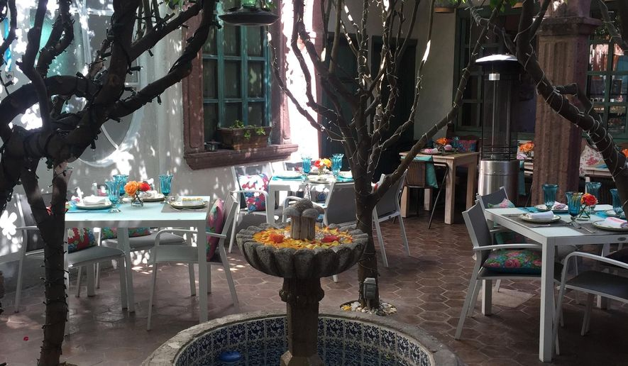This Nov. 23, 2018 photo provided by Kim Curtis shows a courtyard garden in San Miguel de Allende, Guanajuato, Mexico. Step off the dusty cobblestone streets and peek behind nondescript, weather-worn brick facades and encounter the startlingly beautiful courtyard gardens of the central Mexican town of San Miguel de Allende. These oases of beauty and calm claim their roots in the traditional Moorish gardens of ancient Spain. (Kim Curtis via AP)