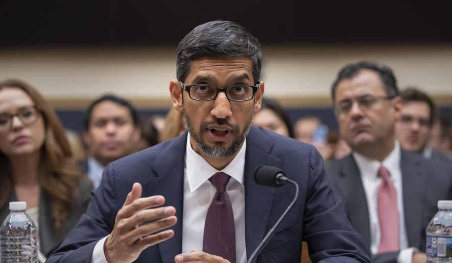 Google CEO Sundar Pichai appears before the House Judiciary Committee to be questioned about the internet giant's privacy security and data collection, on Capitol Hill in Washington, Tuesday, Dec. 11, 2018. Pichai angered members of a Senate panel in September by declining their invitation to testify about foreign governments' manipulation of online services to sway U.S. political elections. (AP Photo/J. Scott Applewhite)
