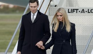 In this Oct. 30, 2018, photo, Ivanka Trump, right, departs Air Force One with Jared Kushner in Coraopolis, Pa. (AP Photo/Keith Srakocic) **FILE**