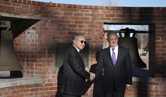 In this Nov. 14, 2018, file photo, Philippine ambassador to the U.S., Jose Manuel Romualdez, left, and U.S. Defense Secretary James Mattis shake hands at two of the Bells of Balangiga at F.E. Warren Air Force Base in Cheyenne, Wyoming. Three church bells seized by American troops as war trophies more than a century ago arrived in Manila on Tuesday, Dec. 11, 2018, to be handed back to the Philippines in a move long demanded by Filipino leaders, including the current president, who is critical of Washington and has moved closer to China. (AP Photo/Mead Gruver, File)