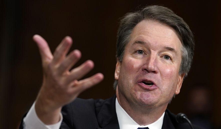 Supreme Court nominee Brett Kavanaugh testifies before the Senate Judiciary Committee on Capitol Hill in Washington, Sept. 27, 2018. (AP Photo/Andrew Harnik, Pool) ** FILE **