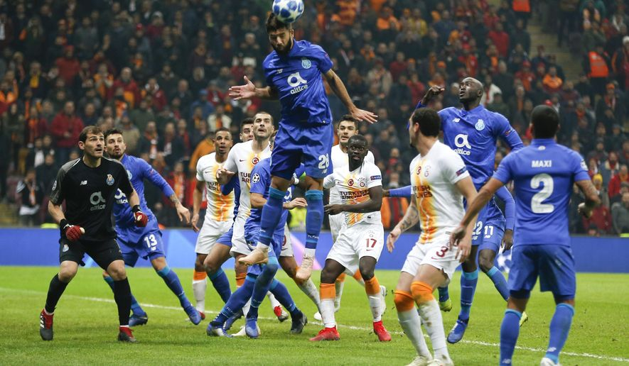 Porto defender Felipe heads the ball during the Champions League Group D soccer match between Galatasaray and Porto in Istanbul, Tuesday, Dec. 11, 2018. (AP Photo/Lefteris Pitarakis)