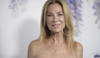 """FILE- In this July 26, 2018 file photo, Kathie Lee Gifford attends Hallmark's Evening Gala during the TCA Summer Press Tour in Beverly Hills, Calif. Gifford will be putting aside her morning glass of wine and will step away from the NBC's """"Today"""" show in April. NBC News chief Noah Oppenheim told staffers Tuesday morning, Dec. 11 that Gifford will leave after 11 years on the show, most recently hosting the 10 a.m. hour alongside Hoda Kotb and sipping plenty of reds. (Photo by Richard Shotwell/Invision/AP, File)"""