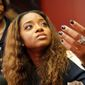 Civil rights leader Tamika Mallory (left) and Carmen Perez are accused of berating a Jewish organizer and using anti-Semitic canards at a 2017 meeting, according to a report. The Women's March organizers took on their critics in a Facebook live-stream. (ASSOCIATED PRESS PHOTOGRAPHS)
