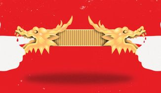 Illustration on the difficulties in dealing with China trade by Linas Garsys/The Washington Times