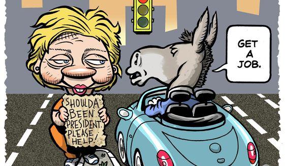 Illustration on Democrat attituteds towards Hillary by Alexander Hunter/The Washington Times