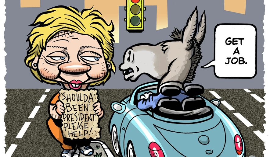 Illustration on Democrat attituteds towards Hillary by Alexander Hunter/The Washington Times