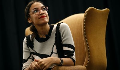 New York congressional candidate Alexandria Ocasio-Cortez participates in a a town hall held in support of Kerri Evelyn Harris, Democratic candidate for U.S. Senate in Delaware, Friday, Aug. 31, 2018, at the University of Delaware in Newark, Del. (AP Photo/Patrick Semansky)