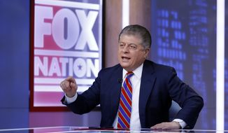 """In this file photo, Fox News senior judicial analyst Andrew Napolitano hosts the inaugural broadcast of """"Liberty File"""" on the new streaming service Fox Nation, in New York, Tuesday, Nov. 27, 2018. (AP Photo/Richard Drew)"""