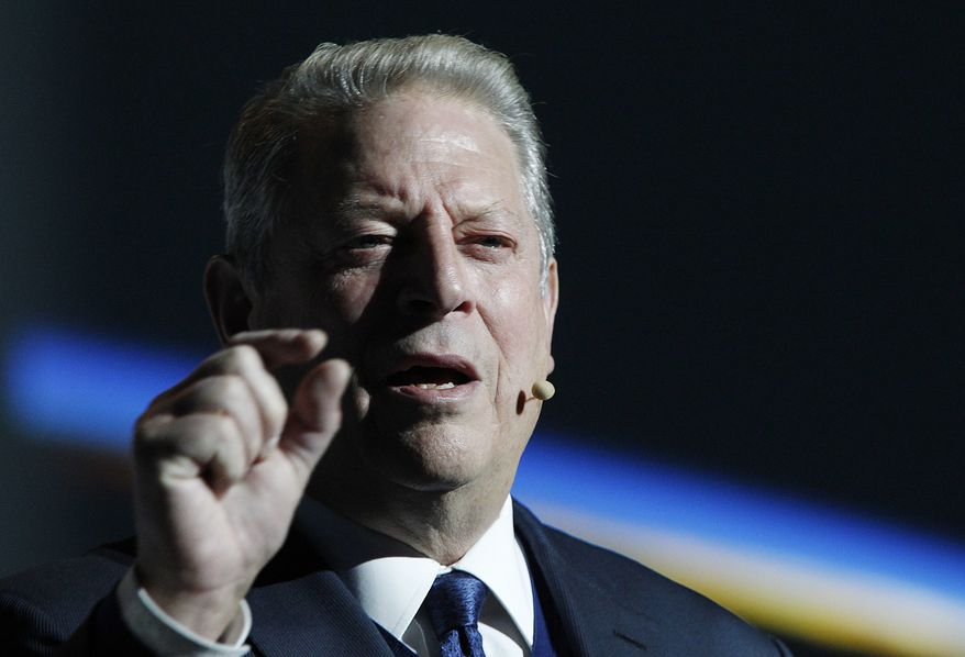 Former U.S vice president and climate activist Al Gore makes a speech on acting for climate to participants in a U.N. climate summit that is to work out ways of keeping global warming in check, in Katowice, Poland, Wednesday, Dec. 12, 2018.(AP Photo/Czarek Sokolowski)