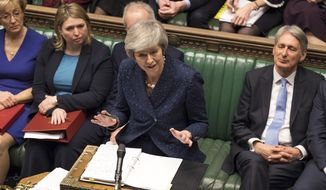 Britain's Prime Minister Theresa May speaks during the regular scheduled Prime Minister's Questions inside the House of Commons in London, Wednesday Dec. 12, 2018. May has confirmed there will be a vote of confidence in her leadership of the Conservative Party, later Wednesday, with the result expected to be announced soon after. (Mark Duffy/UK Parliament via AP)