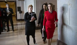 House Democratic Leader Nancy Pelosi of California, the speaker-designate for the new Congress in January, walks past reporters at the Capitol after a classified briefing by CIA Director Gina Haspel to the House leadership about thekilling of journalist Jamal Khashoggi, and, the involvement by the Saudi crown prince, Mohammed bin Salman, in Washington, Wednesday, Dec. 12, 2018. The Senate is preparing for a possible vote on two resolutions to condemn Saudi Arabia for its role in the slaying. (AP Photo/J. Scott Applewhite)