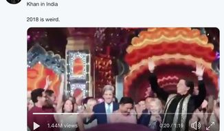 "Former Secretary of States Hillary Clinton and John Kerry dance with India's ""King of Bollywood,"" Shah Rukh Khan, Dec. 11, 2018. (Image: Twitter video screenshot, Sameera Khan)"