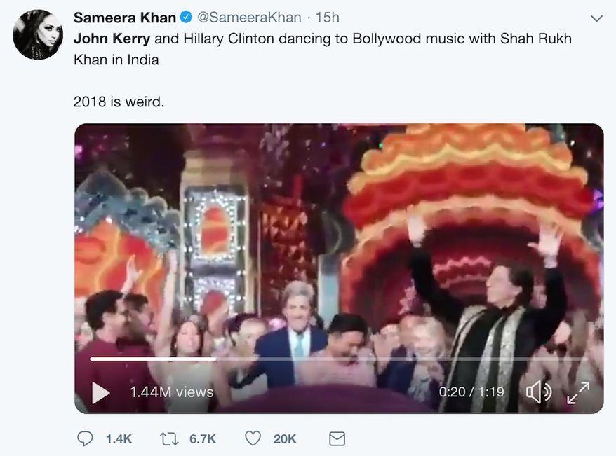 "Former Secretary of States Hillary Clinton and John Kerry dance with India's ""King of Bollywood,"" Shah Rukh Khan, Dec. 11, 2018. (Image: Twitter video screenshot, Sameera Khan)"