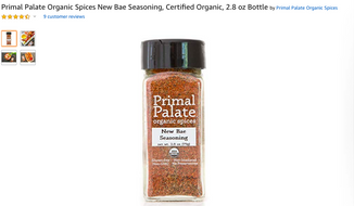 "Primal Palate's ""New Bae"" seasoning mix is shown here in a screen capture from Amazon.com. The makers of the iconic Old Bay seasoning have taken Primal Palate on claims of copyright infringement. (Amazon.com)"