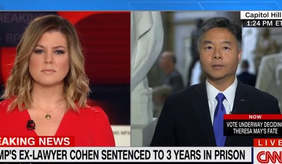"Democratic Rep. Ted Lieu of California told CNN on Wednesday that he would ""love to be able to regulate the content of speech"" if it weren't for restrictions codified into law by the U.S. Constitution. (Image: CNN screenshot)"