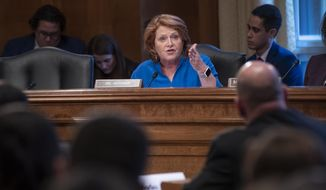 Sen. Heidi Heitkamp, D-N.D., tells a panel of law enforcement officials that efforts to prevent and solve the deaths and disappearance of Native American women must improve, during a hearing by the Senate Committee on Indian Affairs, on Capitol Hill in Washington, Wednesday, Dec. 12, 2018. (AP Photo/J. Scott Applewhite) ** FILE **