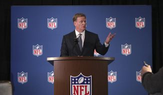 NFL commissioner Roger Goodell speaks to reporters during a news conference after the football leagues' meeting in Irving, Texas, Wednesday, Dec. 12, 2018. (AP Photo/LM Otero)