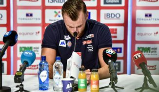 Multiple world champion and olympic champion Petter Northug announces his retirement from cross-country skiing during a press conference in Trondheim, Wednesday Dec. 12, 2018. (Ole Martin Wold/NTB scanpix via AP)