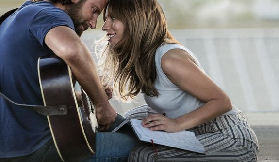 """This image released by Warner Bros. Pictures shows Bradley Cooper, left, and Lady Gaga in a scene from """"A Star is Born."""" The cast was nominated for a SAG Award for best ensemble. The SAG Awards will be held Jan. 27 and broadcast live by TNT and TBS. This year's show will honor Alan Alda with the Screen Actors Guild Life Achievement Award. (Warner Bros. Pictures via AP)"""