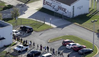FILE - In this Wednesday, Feb. 14, 2018 file photo, students are evacuated by police from Marjory Stoneman Douglas High School in Parkland, Fla., after a shooter opened fire on the campus. There were plenty of missteps in communication, security and school policy before and during the Florida high school massacre that allowed the gunman to kill 17 people. The Marjory Stoneman Douglas High School Public Safety Commission will consider proposals Wednesday, Dec. 12, 2018, and Thursday, Dec. 13, including whether to arm trained teachers who volunteer. (Mike Stocker/South Florida Sun-Sentinel via AP, File)