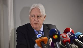 Martin Griffith, special envoy for Yemen of the U.N. Secretary General, attends a press conference at Johannesberg Palace, north of Stockholm on Monday Dec. 10, 2018. Yemen's warring parties are meeting for a fifth day of talks in Sweden aimed at halting the country's catastrophic 4-year-old war. (Stina Stjernkvist/TT via AP)