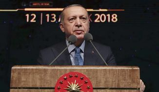 "Turkey's President Recep Tayyip Erdogan delivers a speech during a defence industry meeting event in Ankara, Turkey, Wednesday, Dec. 12, 2018. Erdogan said Turkey will begin ""within a few days"" a new military operation to drive out U.S-backed Syrian Kurdish fighters in Syria, east of the Euphrates River. The move is likely to increase tensions between NATO allies, Turkey, and the United States. (Presidential Press Service via AP, Pool)"
