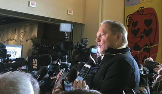 Baseball agent Scott Boras speaks to the media during the Major League Baseball winter meetings in Las Vegas, Wednesday, Dec. 12, 2018.  Boras represents star free agent Bryce Harper and many other big names in the game. (AP Photo/Janie McCauley)