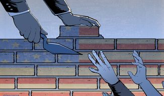 Illustration on the border wall by Paul Tong/Tribune Content Agency