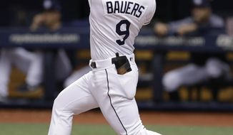 FILE - In this Aug. 8, 2018, file photo, Tampa Bay Rays' Jake Bauers bats during the first inning of a baseball game against the Baltimore Orioles, in St. Petersburg, Fla. Edwin Encarnacion has been traded to Seattle and first baseman Carlos Santana has returned to the Indians in a three-team deal that also involved Tampa Bay. The Rays got infielder Yandy Diaz and minor league right-hander Cole Slusser from Cleveland. The Indians also acquired first baseman Jake Bauers. The swap came Thursday, Dec. 13, 2018,  at the close of the winter meetings. (AP Photo/Chris O'Meara, File)
