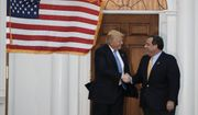President-elect Donald Trump, left, and New Jersey Gov. Chris Christie shake hands after a meeting at Trump National Golf Club Bedminster clubhouse, Sunday, Nov. 20, 2016, in Bedminster, N.J., after meeting. (AP Photo/Carolyn Kaster)