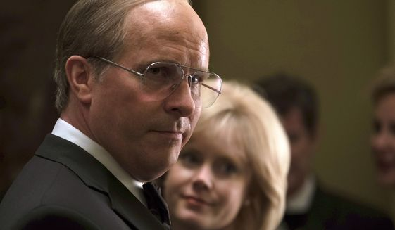 "This image released by Annapurna Pictures shows Christian Bale as Dick Cheney, left, and Amy Adams as Lynne Cheney in a scene from ""Vice.""  On Thursday, Dec. 6, 2018, Bale was nominated for a Golden Globe award for lead actor in a motion picture comedy or musical for his role in the film. The 76th Golden Globe Awards will be held on Sunday, Jan. 6. (Matt Kennedy/Annapurna Pictures via AP)"