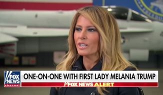 """First lady Melania Trump slammed """"opportunists"""" in the media and entertainment industries who are getting rich off her family's name during an interview with Fox News host Sean Hannity that aired Wednesday night. (Fox News)"""
