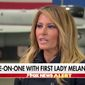 "First lady Melania Trump slammed ""opportunists"" in the media and entertainment industries who are getting rich off her family's name during an interview with Fox News host Sean Hannity that aired Wednesday night. (Fox News)"