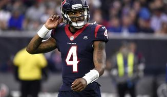 FILE - In this Sunday, Dec. 9, 2018, file photo, Houston Texans quarterback Deshaun Watson (4) looks up at the scoreboard during the second half of an NFL football game against the Indianapolis Colts, in Houston. After having their franchise-record nine-game winning streak stopped last Sunday, Watson and the Texans are focused on getting back into the win column Saturday when they play the New York Jets. (AP Photo/Eric Christian Smith, File)