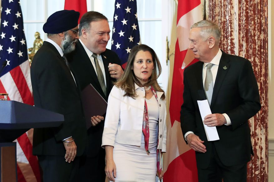 Secretary of State Mike Pompeo, second from left, and Defense Secretary Jim Mattis right, and their Canadian counterparts Canadian Minister of Foreign Affairs Chrystia Freeland, second from right, and Canadian Minister of Defense Harjit Sajjan, left, leave the Benjamin Franklin Room as they conclude their news conference following a U.S.-Canada 2+2 Ministerial at the State Department in Washington, Friday, Dec. 14, 2018. (AP Photo/Manuel Balce Ceneta)