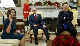 In this Tuesday, Dec. 11, 2018, file photo, Vice President Mike Pence, center, listens as President Donald Trump argues with House Minority Leader Rep. Nancy Pelosi, D-Calif., during a meeting in the Oval Office of the White House, in Washington. (AP Photo/Evan Vucci) ** FILE **