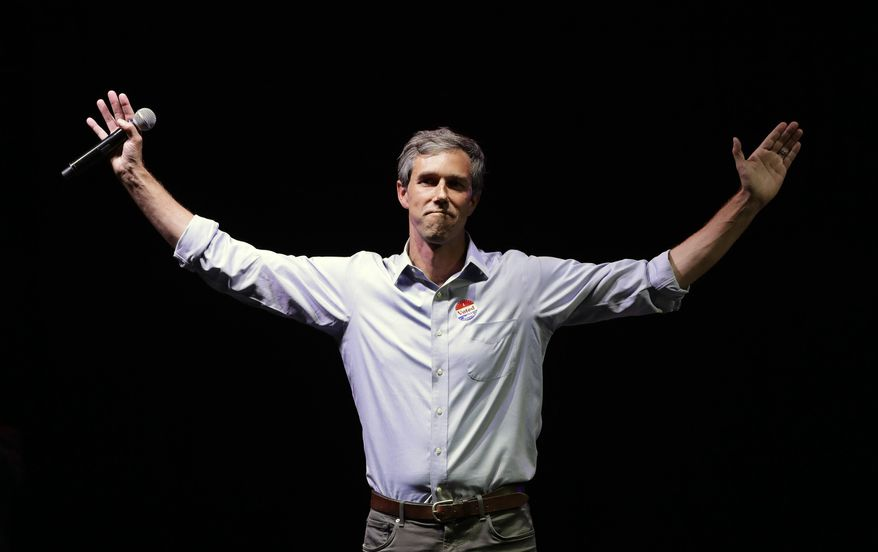 In this Nov. 6, 2018, file photo, Rep. Beto O'Rourke, D-Texas, the 2018 Democratic candidate for U.S. Senate in Texas, makes his concession speech at his election night party in El Paso, Texas. (AP Photo/Eric Gay, File)